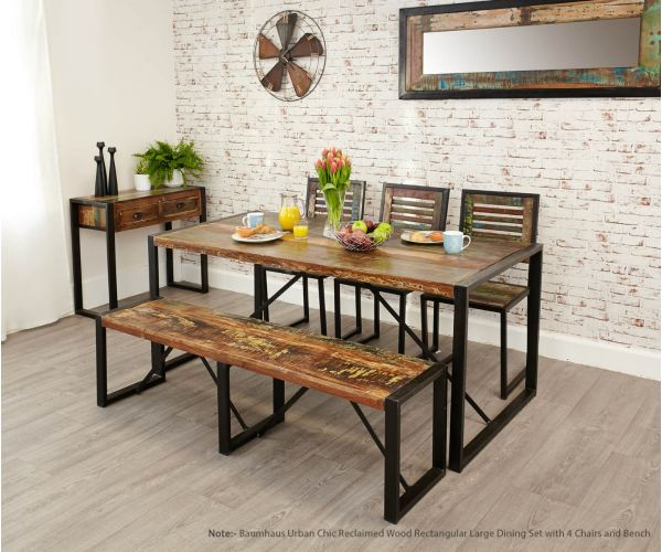 Baumhaus Urban Chic Reclaimed Wood Rectangular Large Dining Set with 4 Chairs and Bench