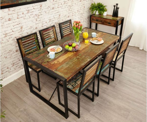 Baumhaus Urban Chic Reclaimed Wood Rectangular Large Dining Set with 6 Chairs