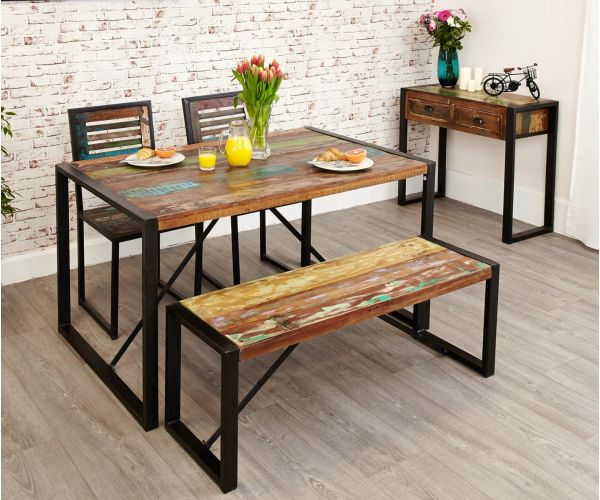 Baumhaus Urban Chic Reclaimed Wood Rectangular Small Dining Set with 2 Chairs and Bench