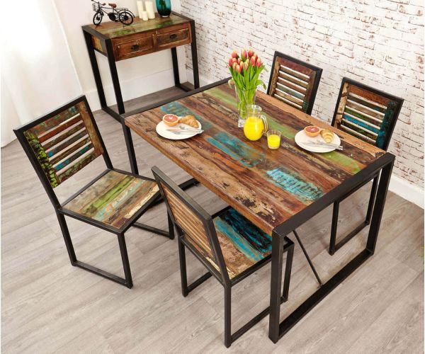 Baumhaus Urban Chic Reclaimed Wood Rectangular Small Dining Set with 4 Chairs