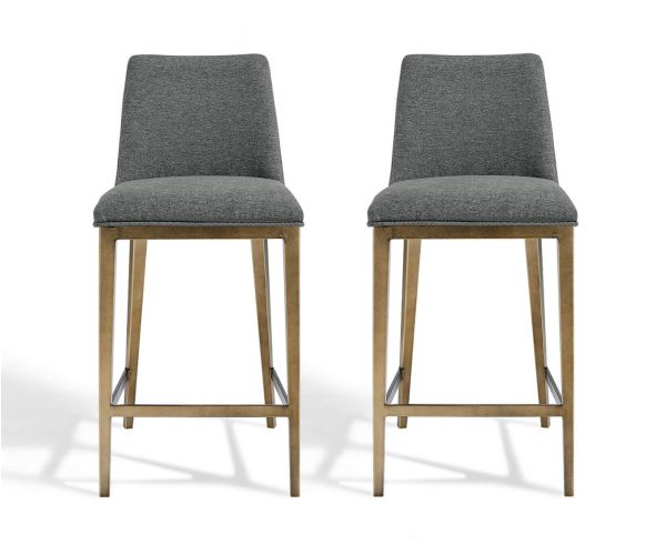 Derrys Furniture Bay Grey Linen with Brass Bar Chair in Pair