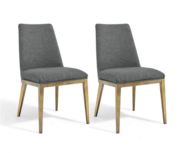 Derrys Furniture Bay Grey Linen with Brass Dining Chair in Pair