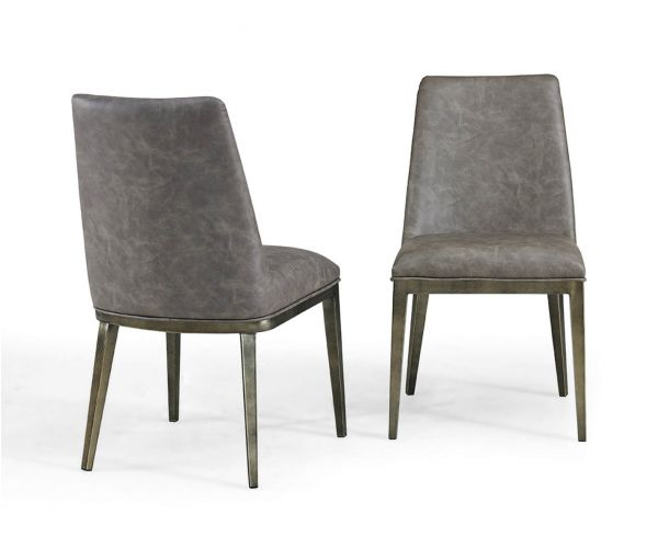 Derrys Furniture Bay Vintage Grey Faux Leather with Brass Dining Chair in Pair