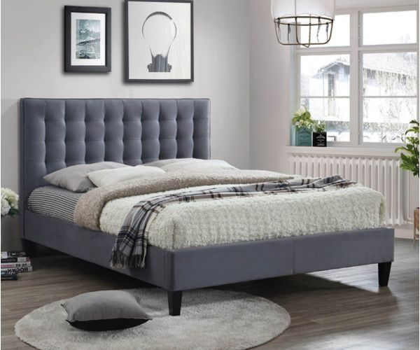 Furniture Link Becky Grey Fabric Bed Frame