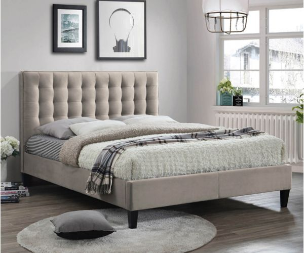 Furniture Link Becky Champagne Fabric Bed Frame