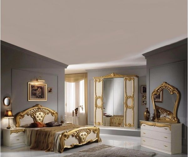 Ben Company Cristina Beige and Gold Finish Italian Bed Group Set with 4 Door Wardrobe