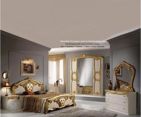 Ben Company Cristina Beige and Gold Finish Italian Bed Group Set with 6 Door Wardrobe