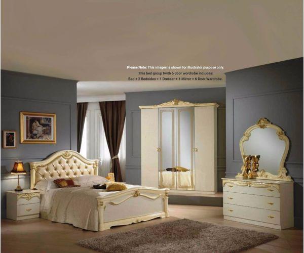 Ben Company Eva Beige and Gold Finish Italian Bed Group Set with 6 Door Wardrobe