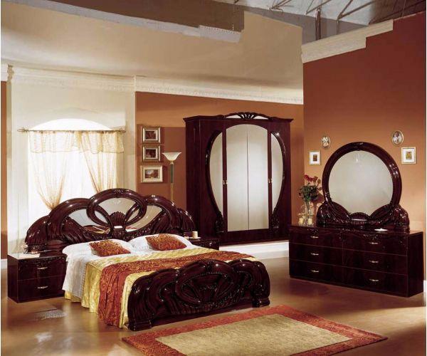 Ben Company Giada Mahogany Finish Italian Bed Group Set with 4 Door Wardrobe
