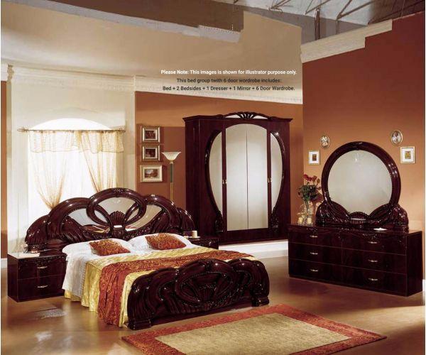 Ben Company Giada Mahogany Finish Italian Bed Group Set with 6 Door Wardrobe
