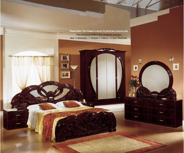 Ben Company Giada Mahogany Finish Bed Group Set with 6 Door Wardrobe