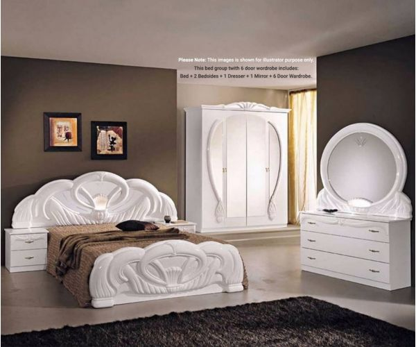 Ben Company Giada White Finish Italian Bed Group Set with 6 Door Wardrobe