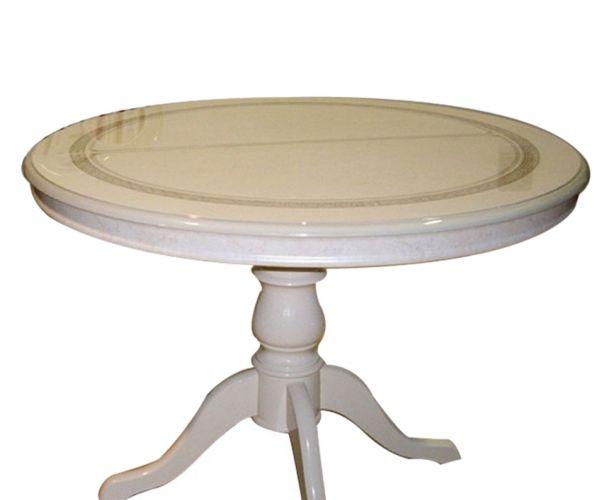Ben Company Irene Beige Finish Italian Round Extension Dining Table