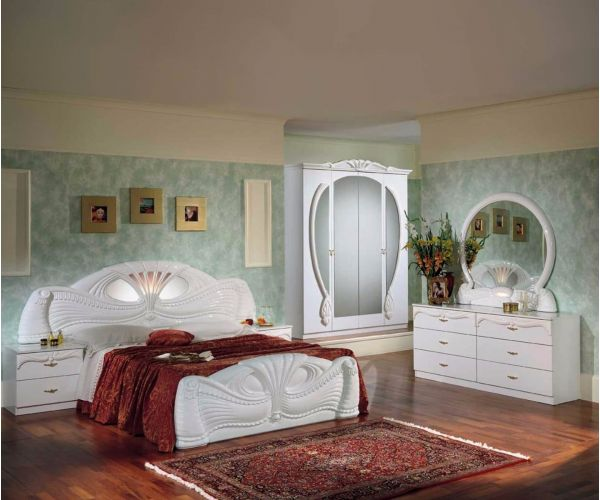 Ben Company Pamela White Finish Italian Bed Group Set with 4 Door Wardrobes