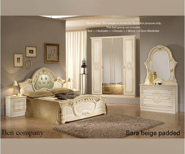 Ben Company Sara Padded Beige Finish Bed Group Set with 6 Door Wardrobe