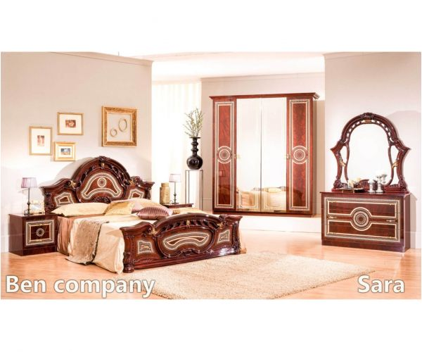 Ben Company Sara Mahogany Finish Italian Bed Group Set with 6 Door Wardrobe
