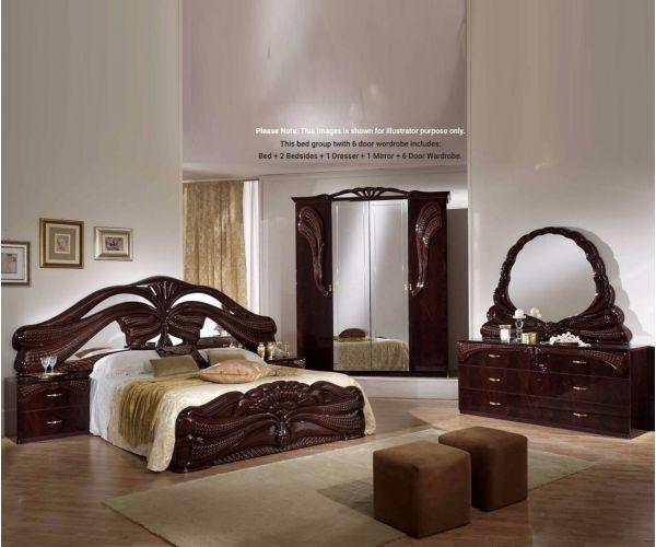Ben Company Silvia Mahogany Finish Italian Bed Group Set with 6 Door Wardrobe