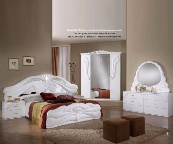 Ben Company Silvia White Finish Italian Bed Group Set with 6 Door Wardrobe