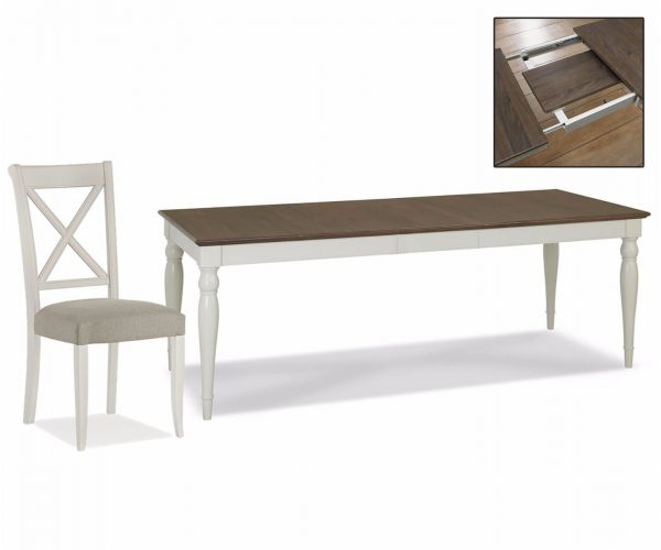 Bentley Designs Hampstead Soft Grey and Walnut 6-8 Rectangular Dining Table with X Back Chairs