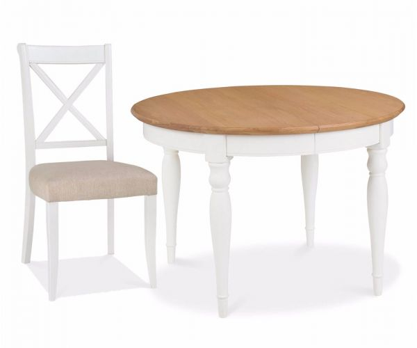 Bentley Designs Hampstead Two Tone Small Dining Table with X Back Fabric Chairs