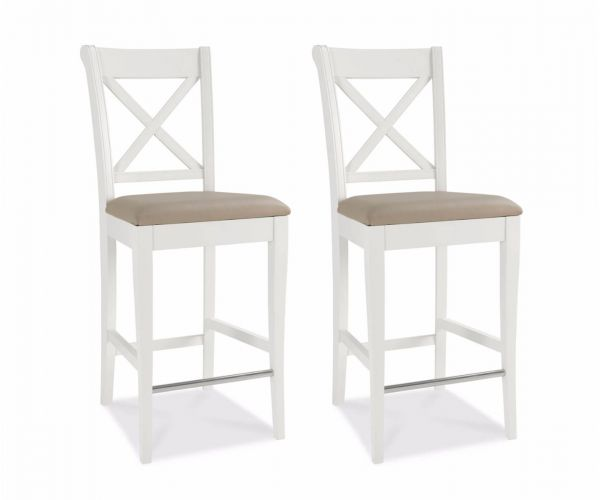 Bentley Designs Hampstead Two Tone X Back Bar Stool in Pair