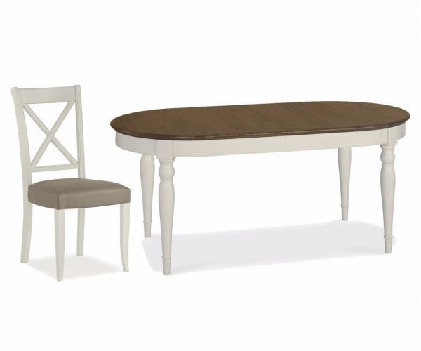 Bentley Designs Hampstead Soft Grey and Walnut 6-8 Extension Table with X Back Leather Chairs