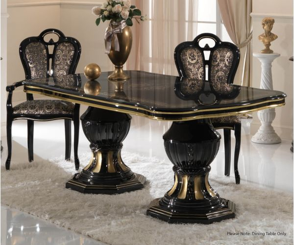Ben Company Betty Black and Gold Finish Italian Oval Extension Dining Table