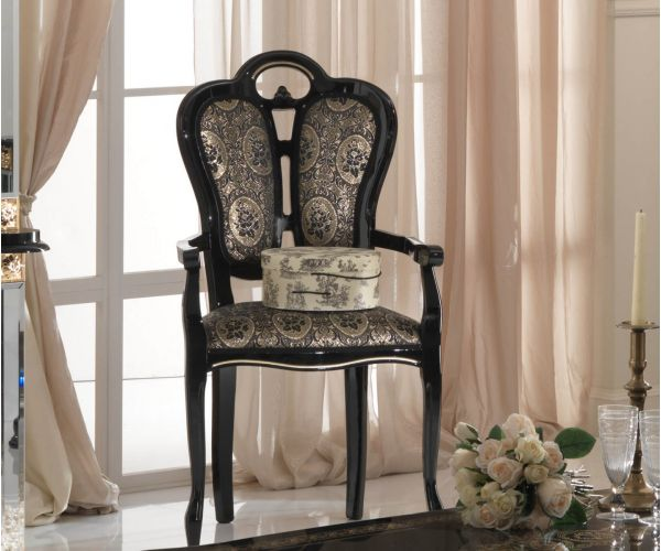 Ben Company Betty Black and Gold Finish Italian Giglio Dining Armchair