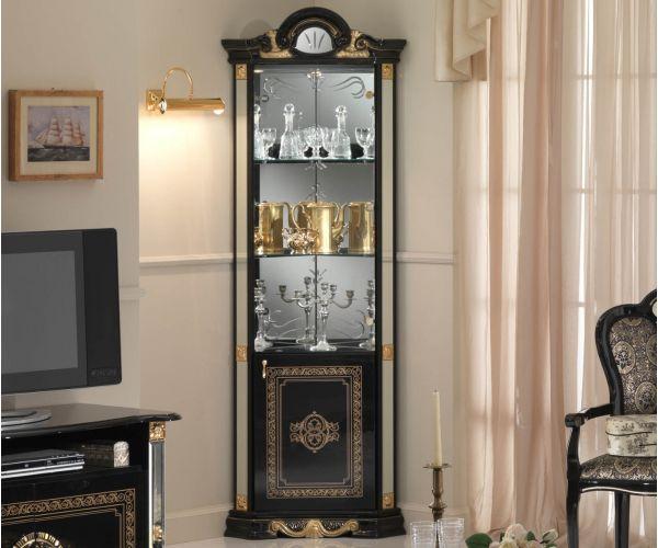 Ben Company Betty Black and Gold Finish Italian Corner Display Cabinet
