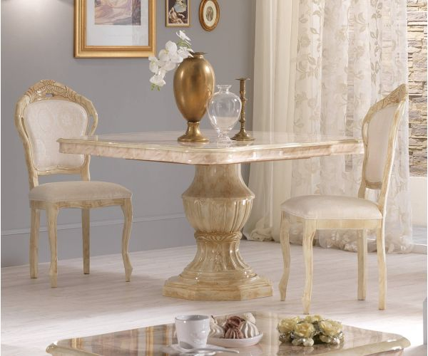 Ben Company Betty Beige Finish Italian Round Extension Dining Table