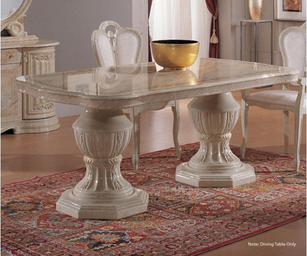 Ben Company Betty Beige Finish Italian Oval Extension Dining Table