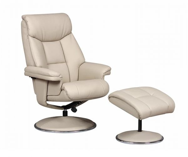 GFA Biarritz Bone Plush Swivel Recliner Chair with Footstool