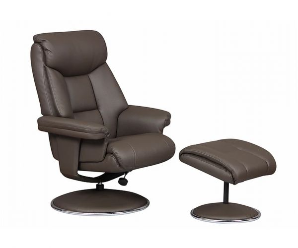 GFA Biarritz Charcoal Plush Swivel Recliner Chair with Footstool