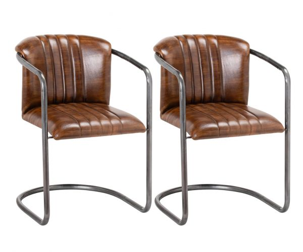Billy Leather Dining Chair in Pair