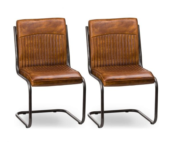 Billy Leather Ribbed Dining Chair in Pair