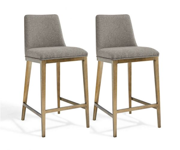 Derrys Furniture Bay Beige Linen with Brass Bar Chair in Pair