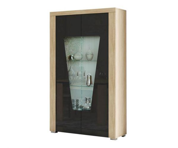 SM Italia Bristol Sand Birch and Black 2 Door Display Cabinet