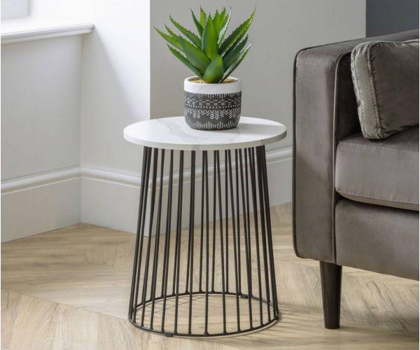 Julian Bowen Broadway White Marble Round Lamp Table