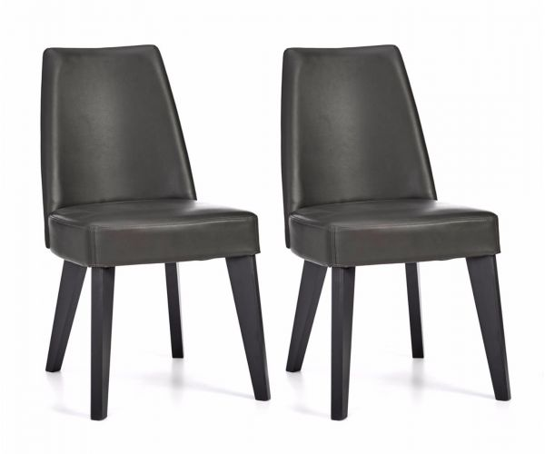 Bentley Designs Brunel Grey Bonded Leather Dining Chair in Pair
