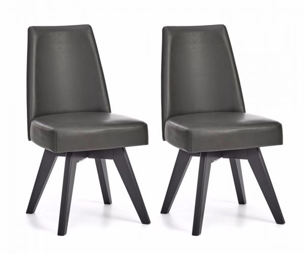 Bentley Designs Brunel Grey Bonded Leather Swivel Chair in Pair