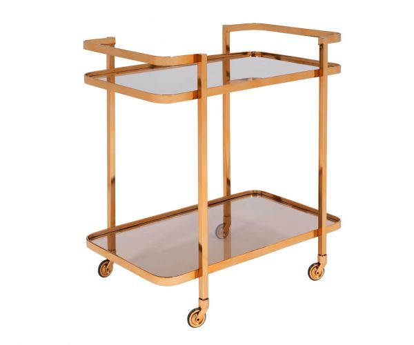Serene Furnishings Buxar Black Smoked Glass and Gold Drinks Trolley