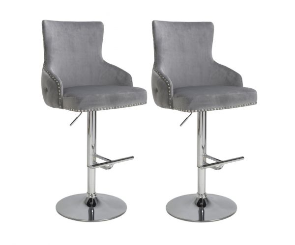 Shankar Cairo Brushed Velvet Grey Bar Stool In Pair