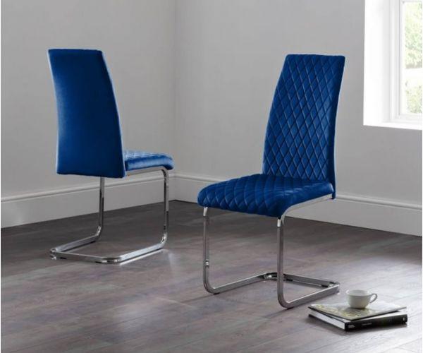 Julian Bowen Calabria Blue Velvet Cantilever Dining Chair in Pair