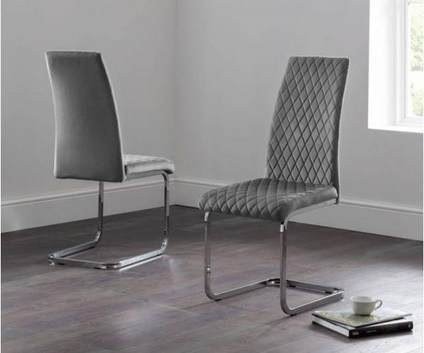 Julian Bowen Calabria Grey Velvet Cantilever Dining Chair in Pair