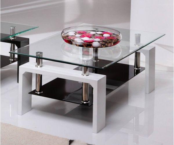 Vida Living Calico White Glass Coffee Table
