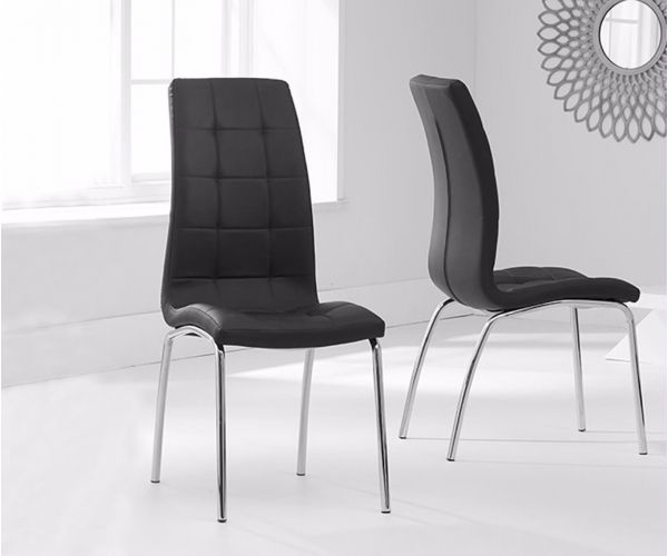 Mark Harris California Black Faux Leather Dining Chair in Pair