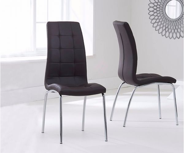 Mark Harris California Brown Faux Leather Dining Chair in Pair