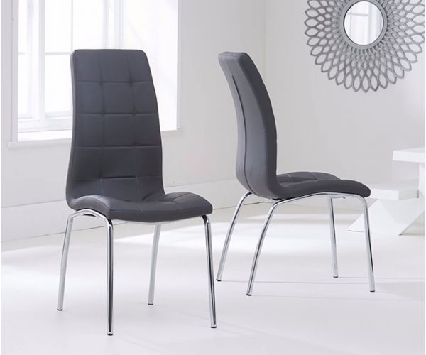 Mark Harris California Grey Faux Leather Dining Chair in Pair