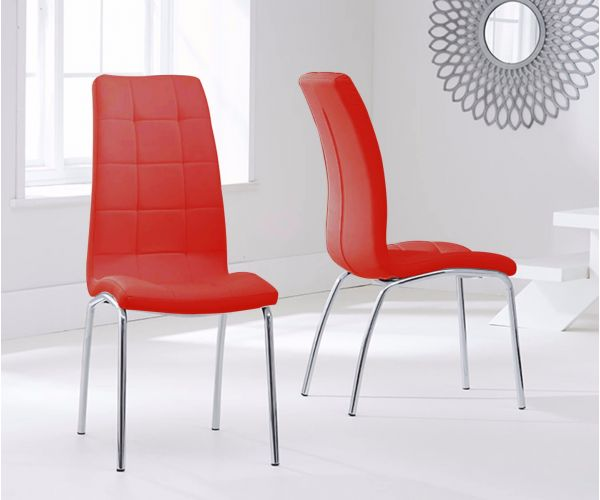Mark Harris California Red Faux Leather Dining Chair in Pair