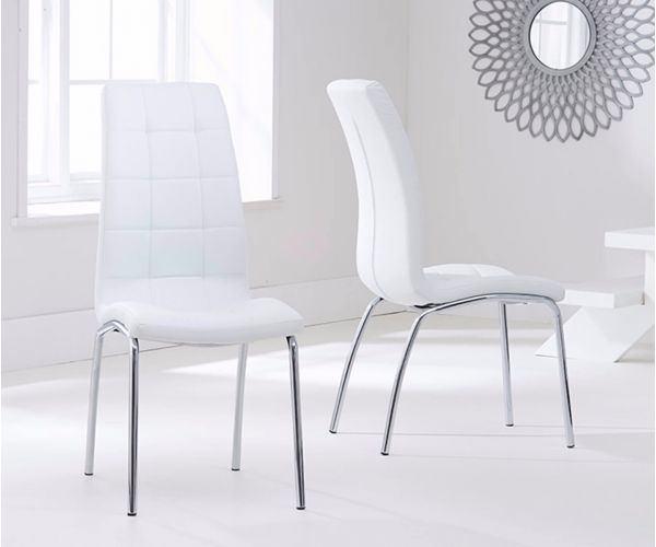 Mark Harris California White Faux Leather Dining Chair in Pair